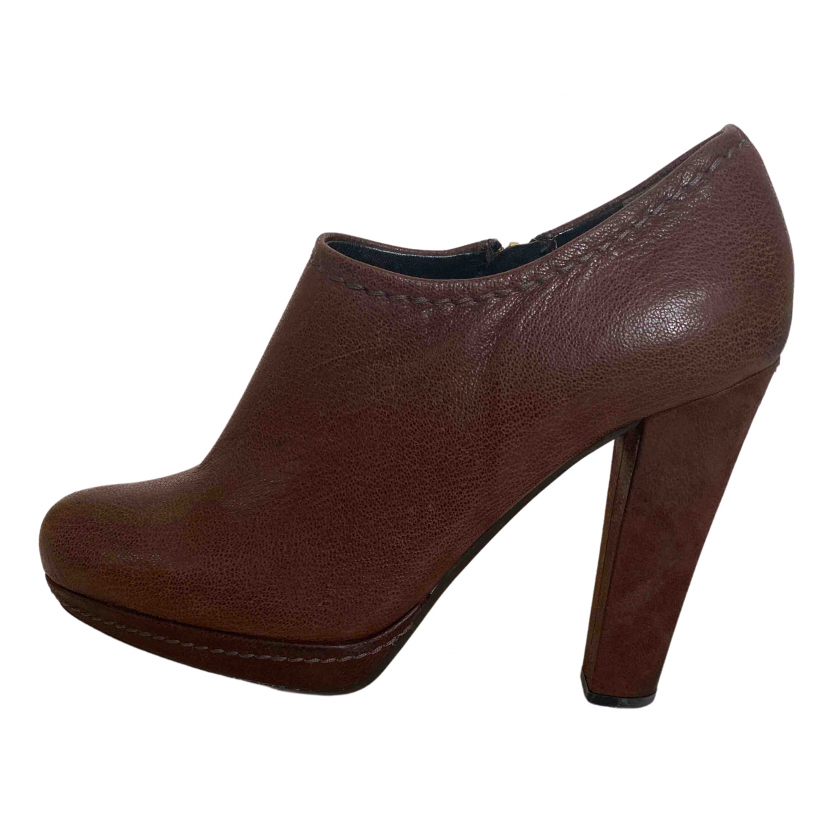 Carshoe N Brown Leather Heels for Women 38 IT