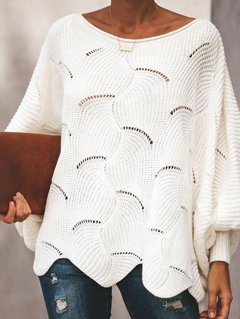 Ericdress Thick Batwing Sleeve Hollow Mid-Length Sweater