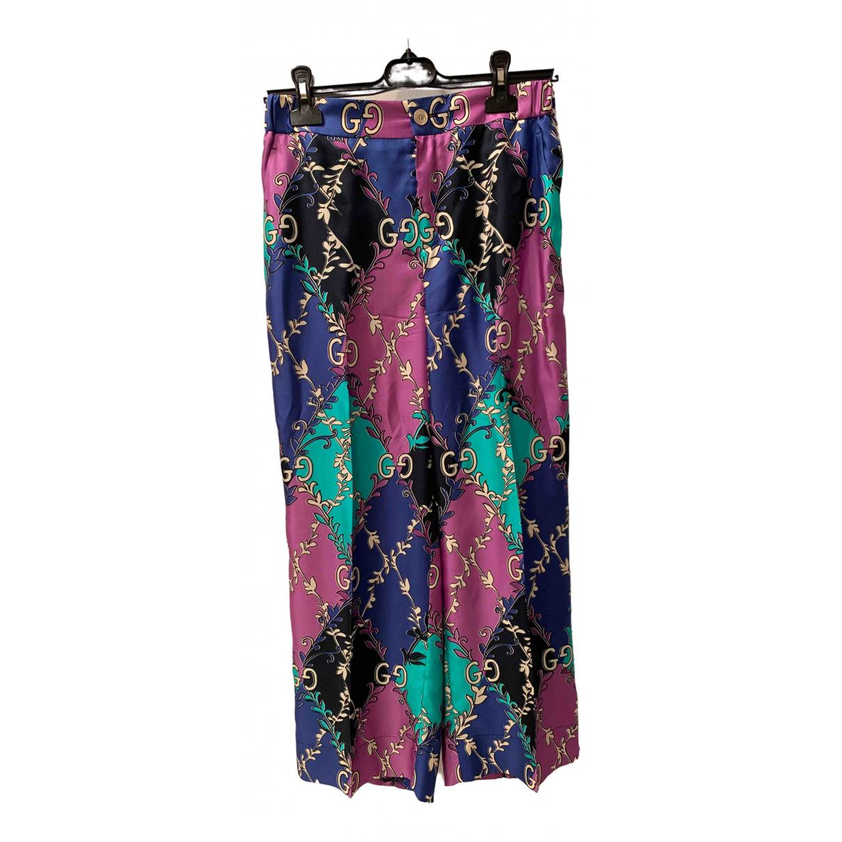 Gucci \N Multicolour Silk Trousers for Women 42 IT