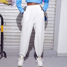Solid Elastic Waist Sweatpants Without Bag