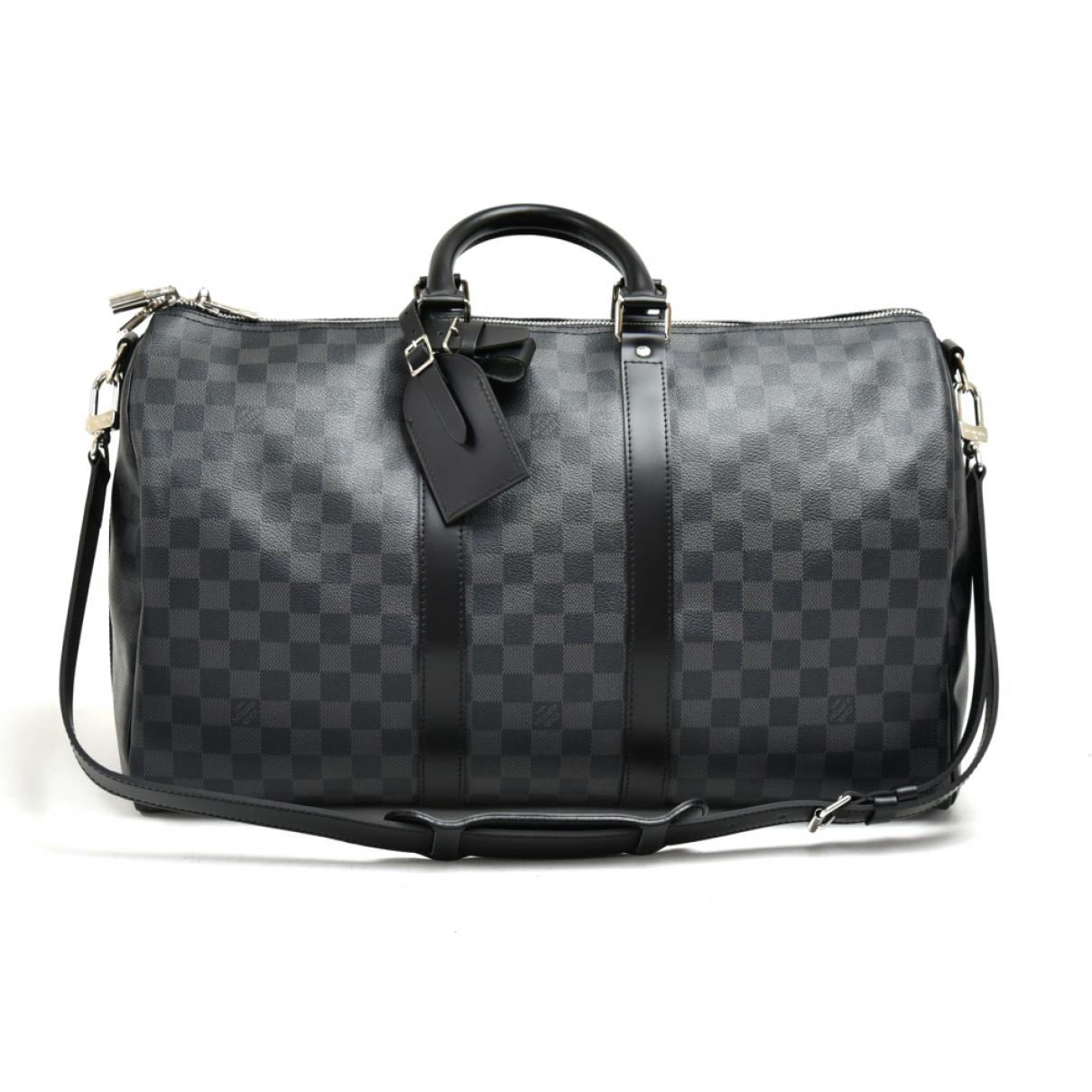 Louis Vuitton - Sac de voyage Keepall pour femme en toile - noir