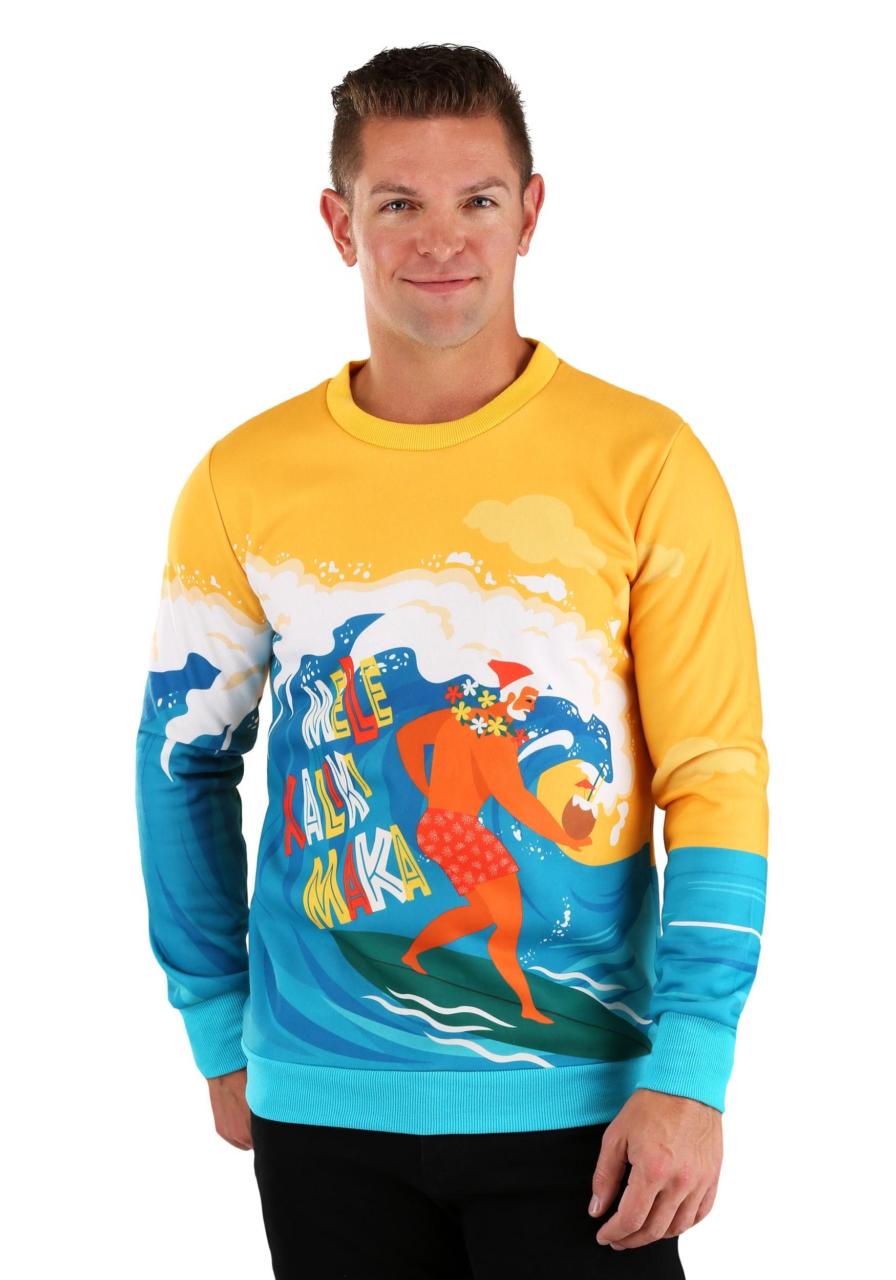 Mele Kalikimaka Surfing Santa Ugly Christmas Sweater for Adults