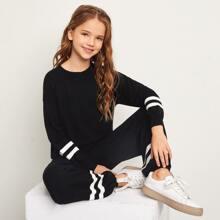 Girls Drop Shoulder Striped Cuff Sweater & Carrot Pants Set