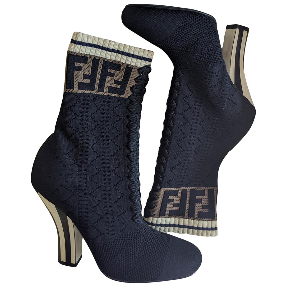 Fendi - Boots   pour femme en toile - noir