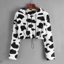 Zip Up Cow Print Teddy Sweatshirt