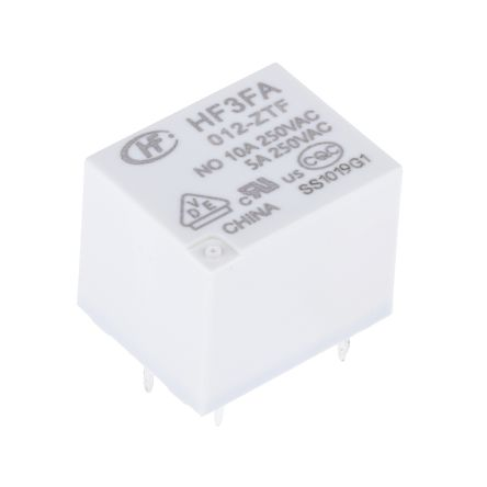Hongfa Europe GMBH , 12V dc Coil Non-Latching Relay SPDT, 10A Switching Current PCB Mount Single Pole (5)