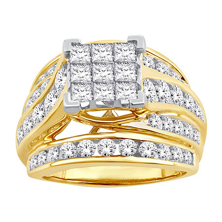 Womens 3 CT. T.W. Genuine White Diamond 10K Gold Engagement Ring, 8 , No Color Family