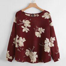 Bluse mit Blumen Muster und Schluesselloch hinten