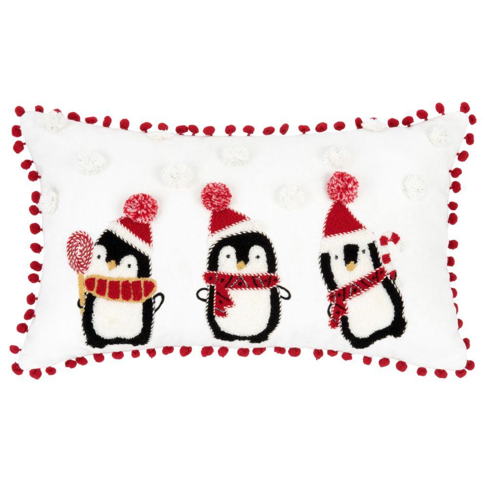 Weihnachtskissenbezug aus weisser Baumwolle mit Pinguin-Stickereien mit Kunstfell 30x50