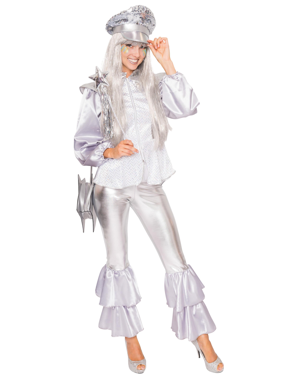 Damen-Kostuem Anzug Disco Damen silber 2tlg. XXL Grosse: XXL (2XL)