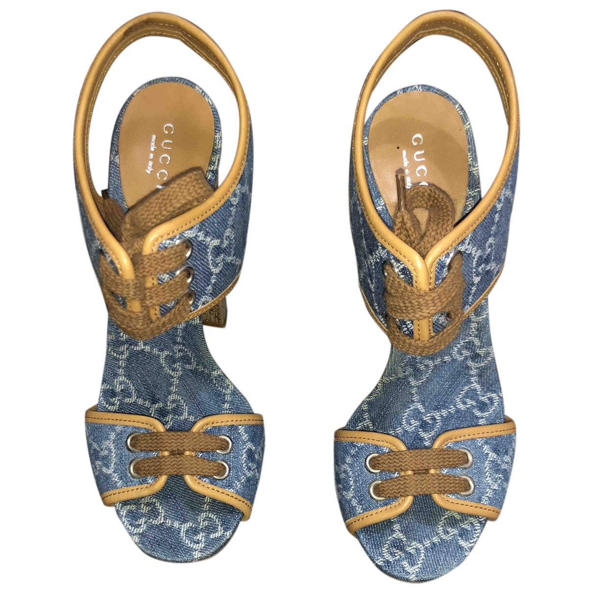 Gucci N Blue Cloth Sandals for Women 37 IT
