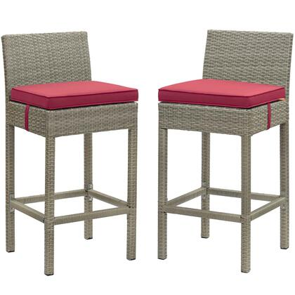 Conduit Collection EEI-3604-LGR-RED Set of 2 Outdoor Patio Bar Stools with Powder-Coated Aluminum Frame  Synthetic Polyethylene Rattan Weave