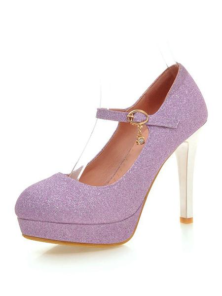Milanoo Women Glitter Platform High Heels Mary Jane Gold Party Shoes