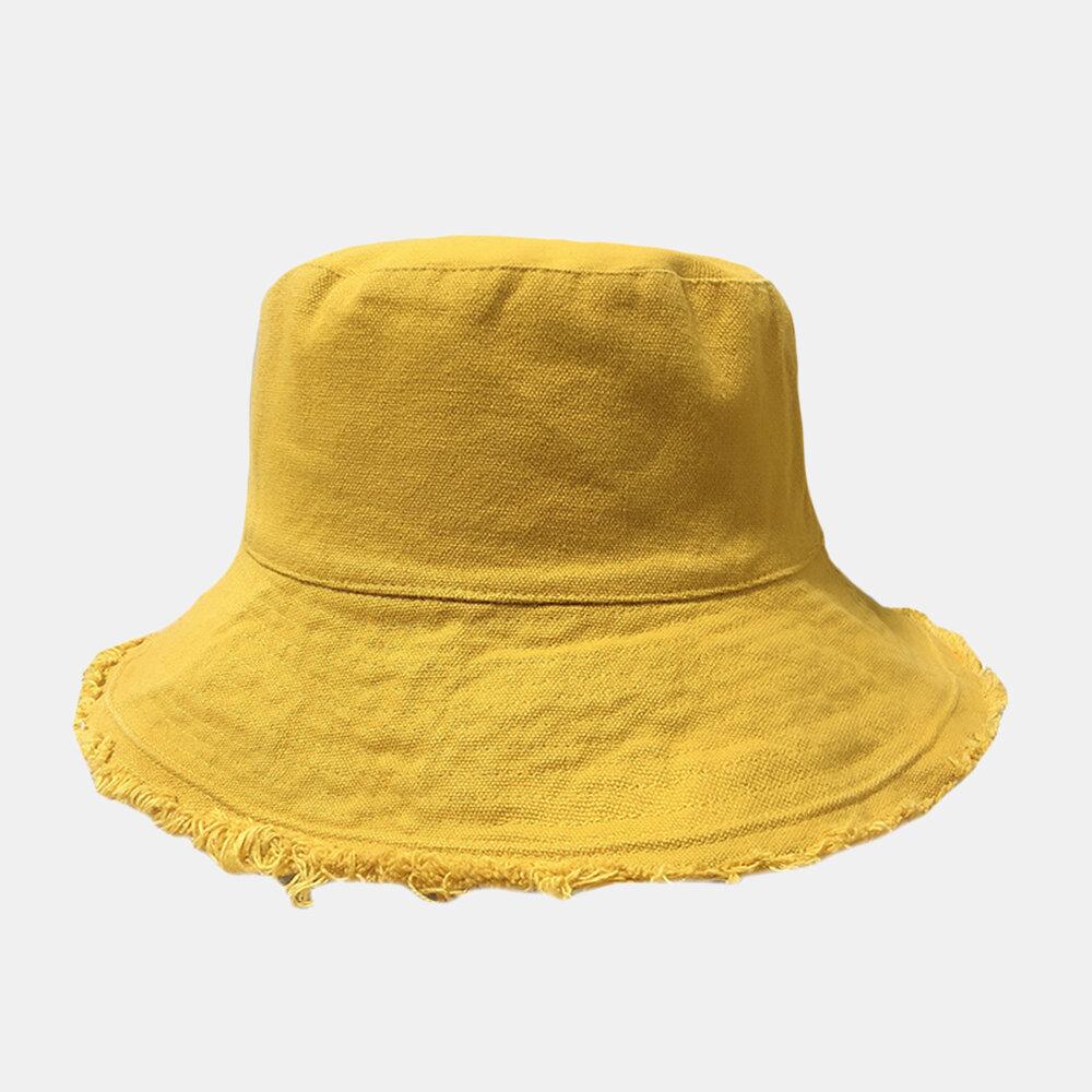 Women's Denim Bucket Hat Frayed Fisherman Hat