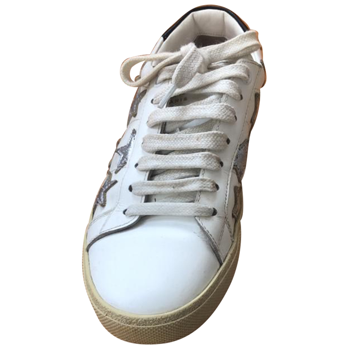 Saint Laurent - Baskets Court pour femme en cuir - blanc
