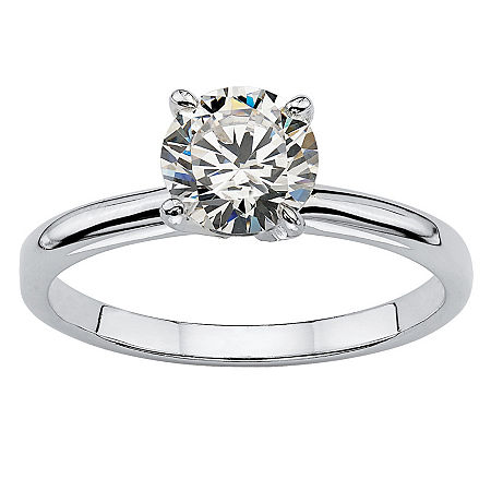 DiamonArt Womens 1 1/10 CT. T.W. White Cubic Zirconia Sterling Silver Round Engagement Ring, 9 , No Color Family