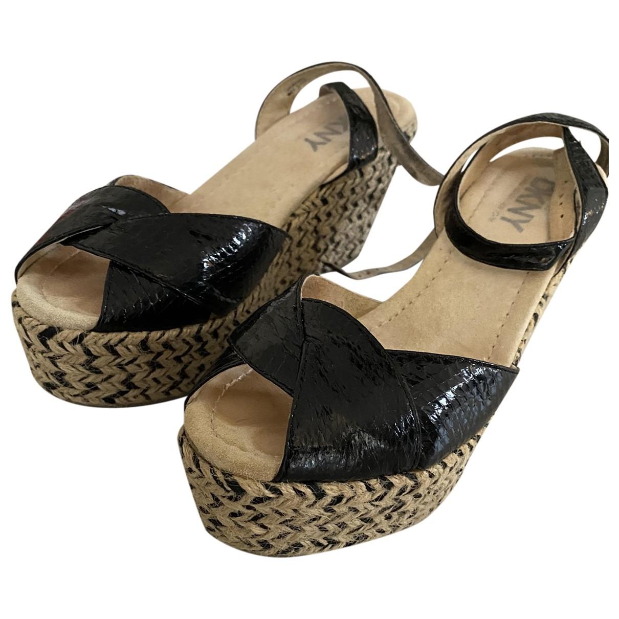 Dkny - Sandales   pour femme en cuir verni - noir