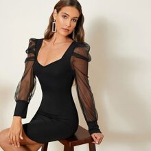 Sheer Mesh Gigot Sleeve Bodycon Dress