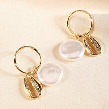 Faux Pearl Shell Drop Earrings