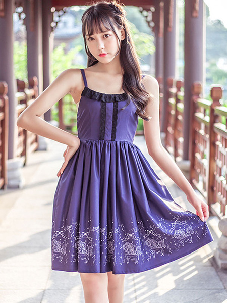 Milanoo Classic Lolita OP Dress Lace Bow Ruffle Purple Lolita One Piece Dress