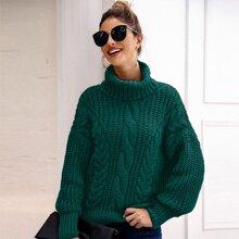 Turtleneck Cable Knit Drop Shoulder Sweater