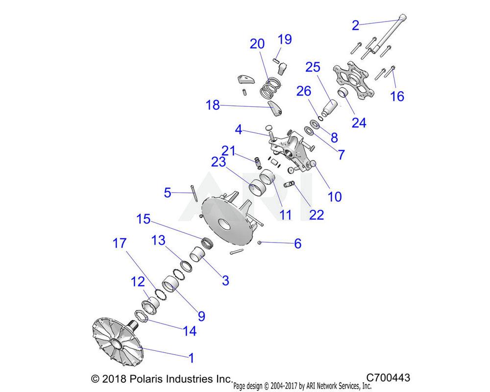 Polaris OEM 1323717 ASM-SPIDER ROLLER, P90X