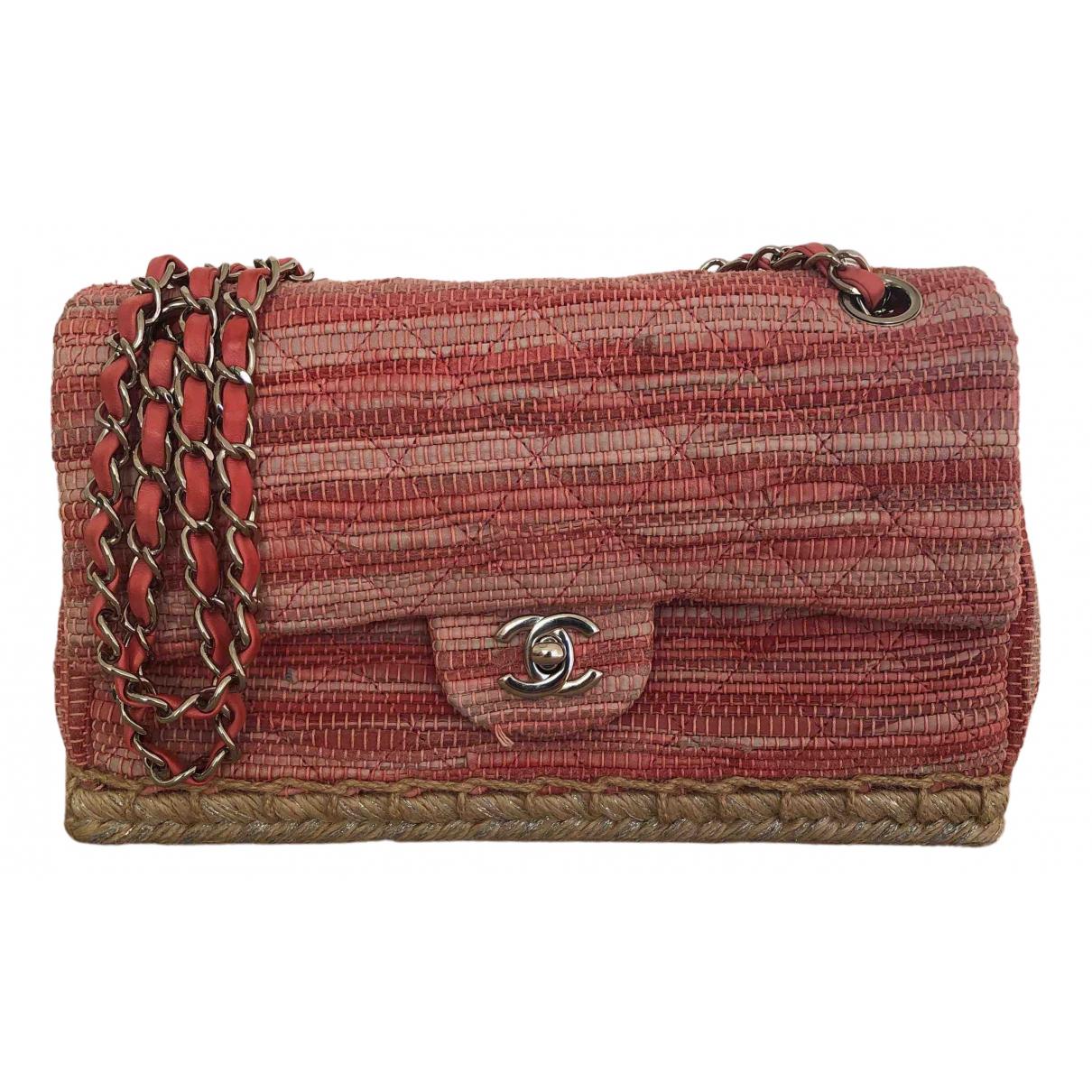 Chanel - Sac a main Timeless/Classique pour femme en toile - rose