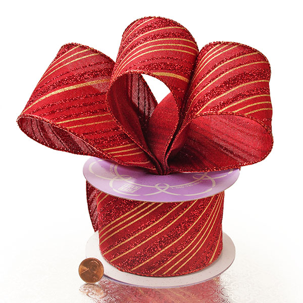 2 1/2X10 Yards Red Glittered Candy Stripe Ntrl Wrd Ribbon by Ribbons.com