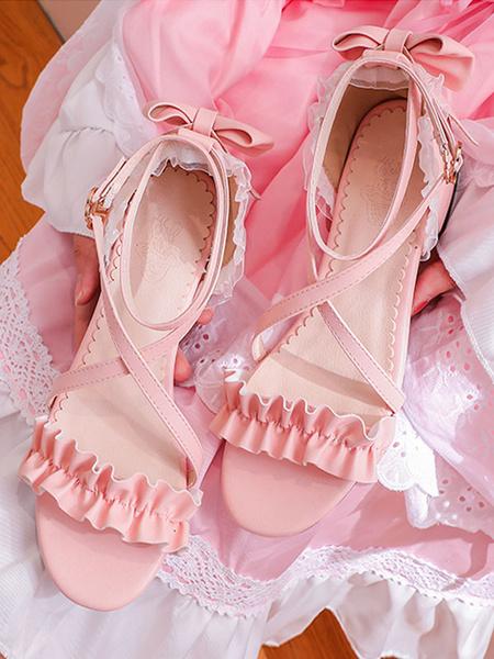 Milanoo Sweet Lolita Sandals BowsRuffles PU Leather Lolita Summer Shoes