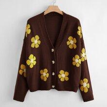 Strickjacke mit Knopfen vorn und Blumen Muster