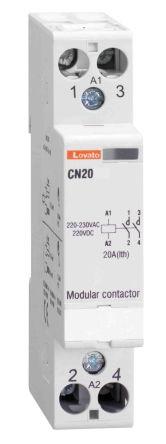 Lovato 2 Pole Contactor - 20 A, 24 V ac/dc Coil, 2NO