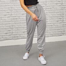 Einfarbige Jogginghose mit Papiertasche und Schnuerung-Taille
