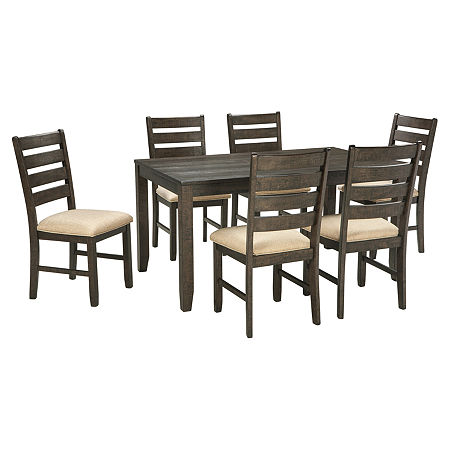 Signature Design by Ashley Linwood 7-Piece Rectangular Dining Set, One Size , Brown