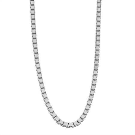 Sterling Silver 20 Inch Solid Box Chain Necklace, One Size , No Color Family