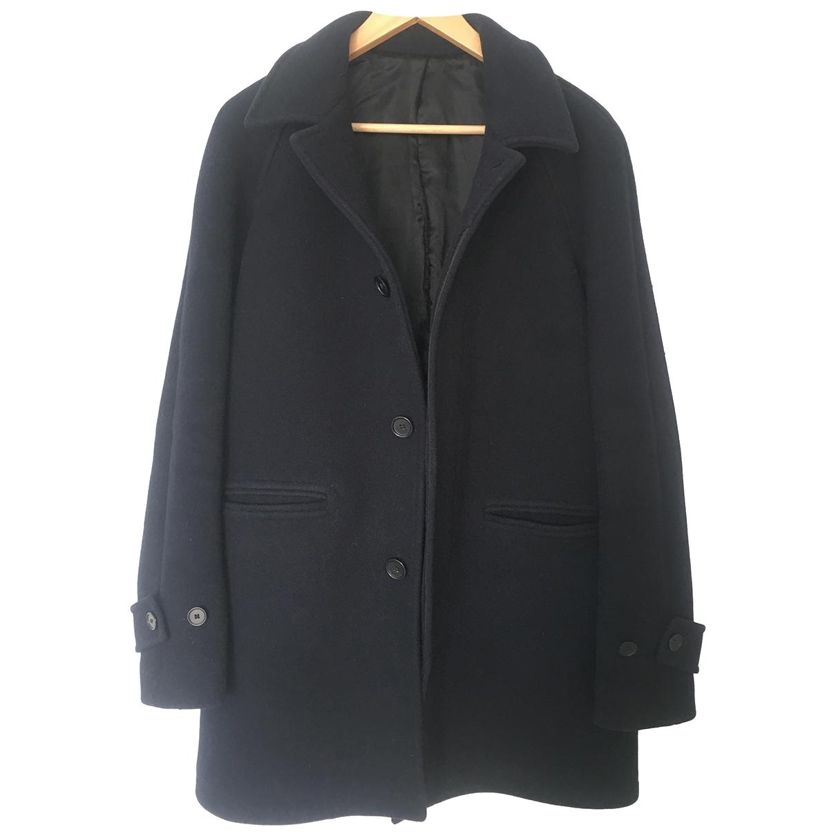 Sandro - Manteau   pour homme en laine - marine