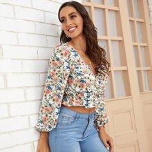 Bluse mit Blumen Muster, Rueschenbesatz und V-Ausschnitt