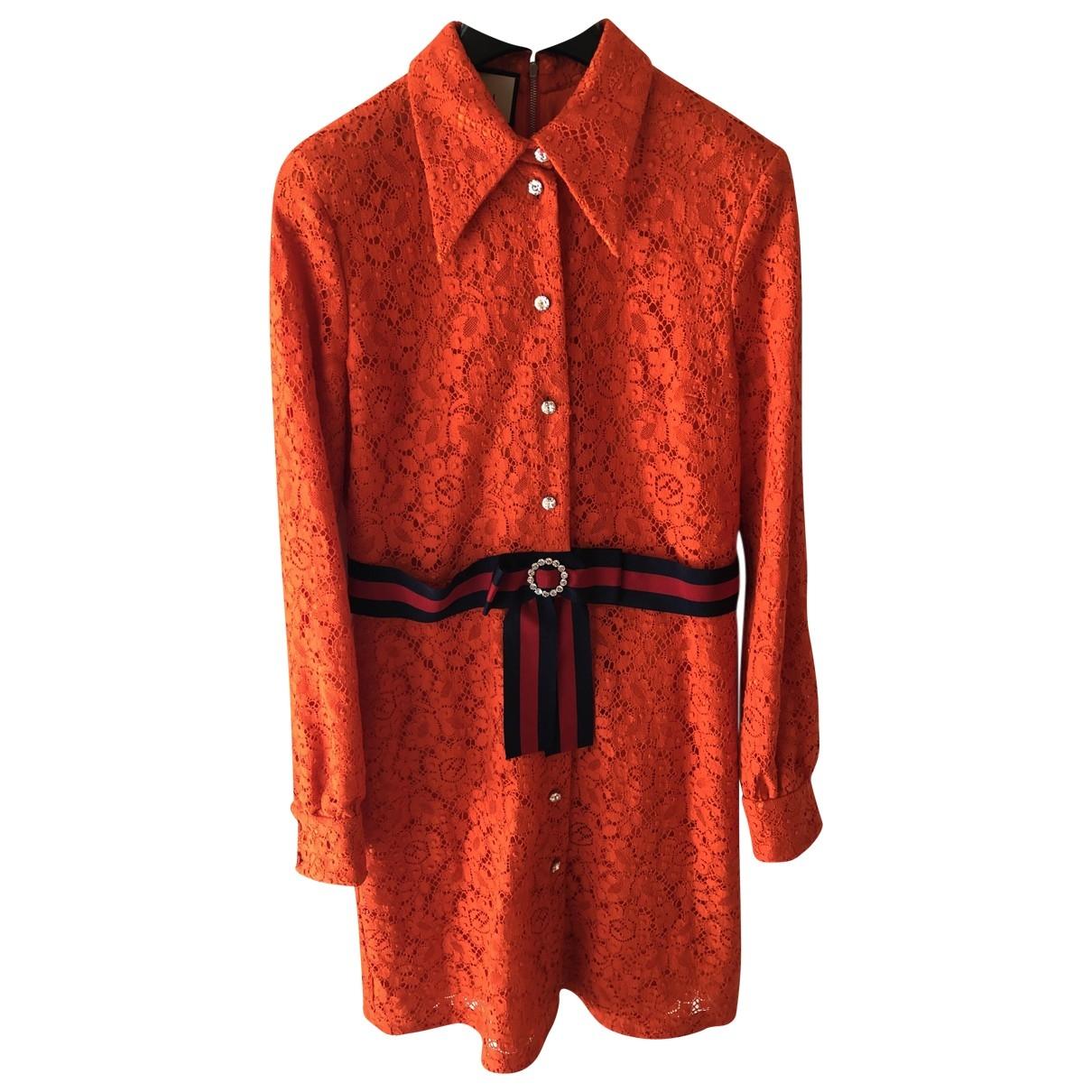 Gucci \N Kleid in  Orange Spitze