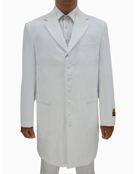 Mens White  Seven Button Zoot Suits