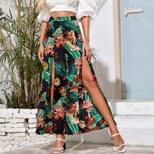 Tropical Print High Split Wide Leg Pants