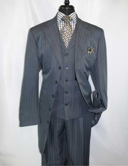 Men's Notch Lapel Grey Steel 5 Button Single  Extra Long Vested Suit