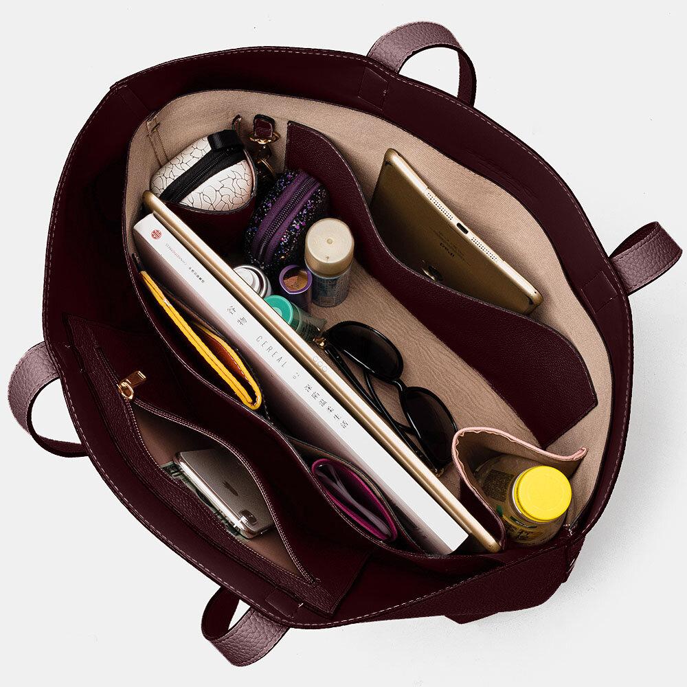 Women 2 PCS Multi-pocket Large Capacity Removable Key Multifunctional Handbag Tote