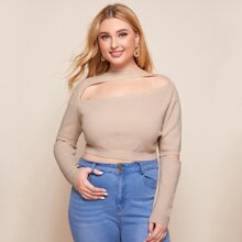 Plus Cut Out Detail Crop Sweater