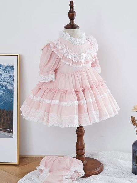 Milanoo Kids Lolita Dress Lace Short Sleeve Tutu Dress