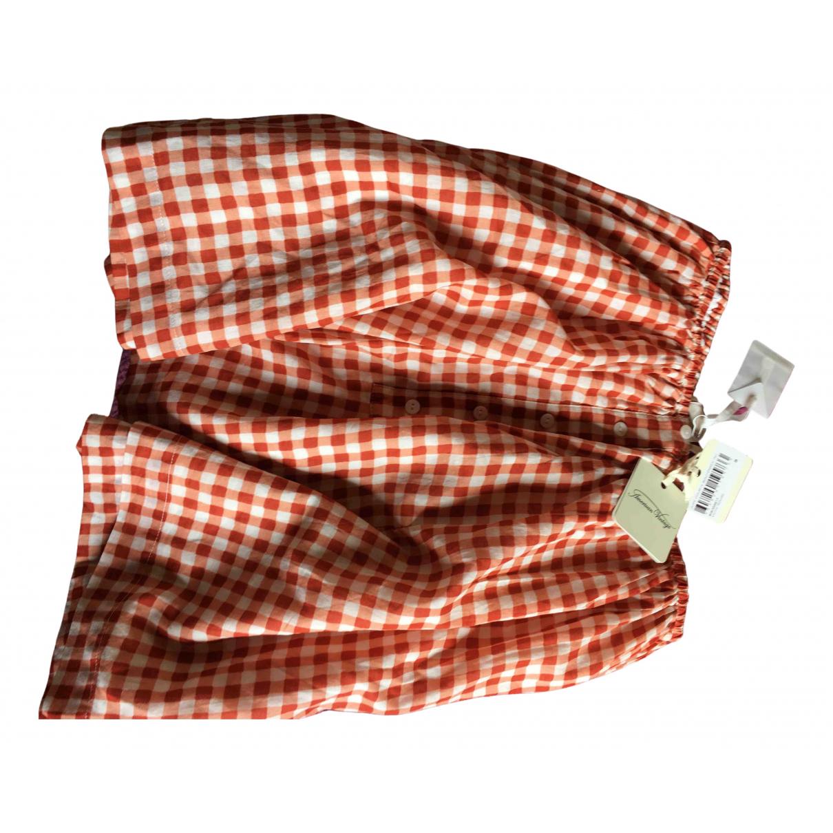 American Vintage - Jupe   pour femme en coton - rouge