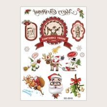 1 pieza pegatina de tatuaje con Santa de navidad