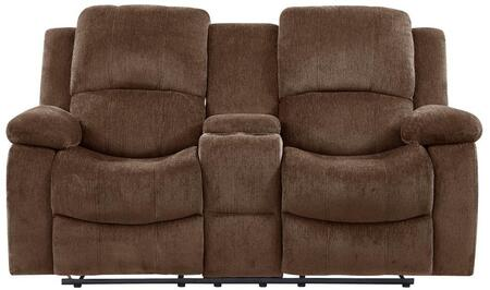 U3118C - SUBARU COFFEE - CRLS 71 Reclining Loveseat with Console  Cup Holders  Fabric Upholstery  Pillow Top Armrests and Plush Cushioned Back in