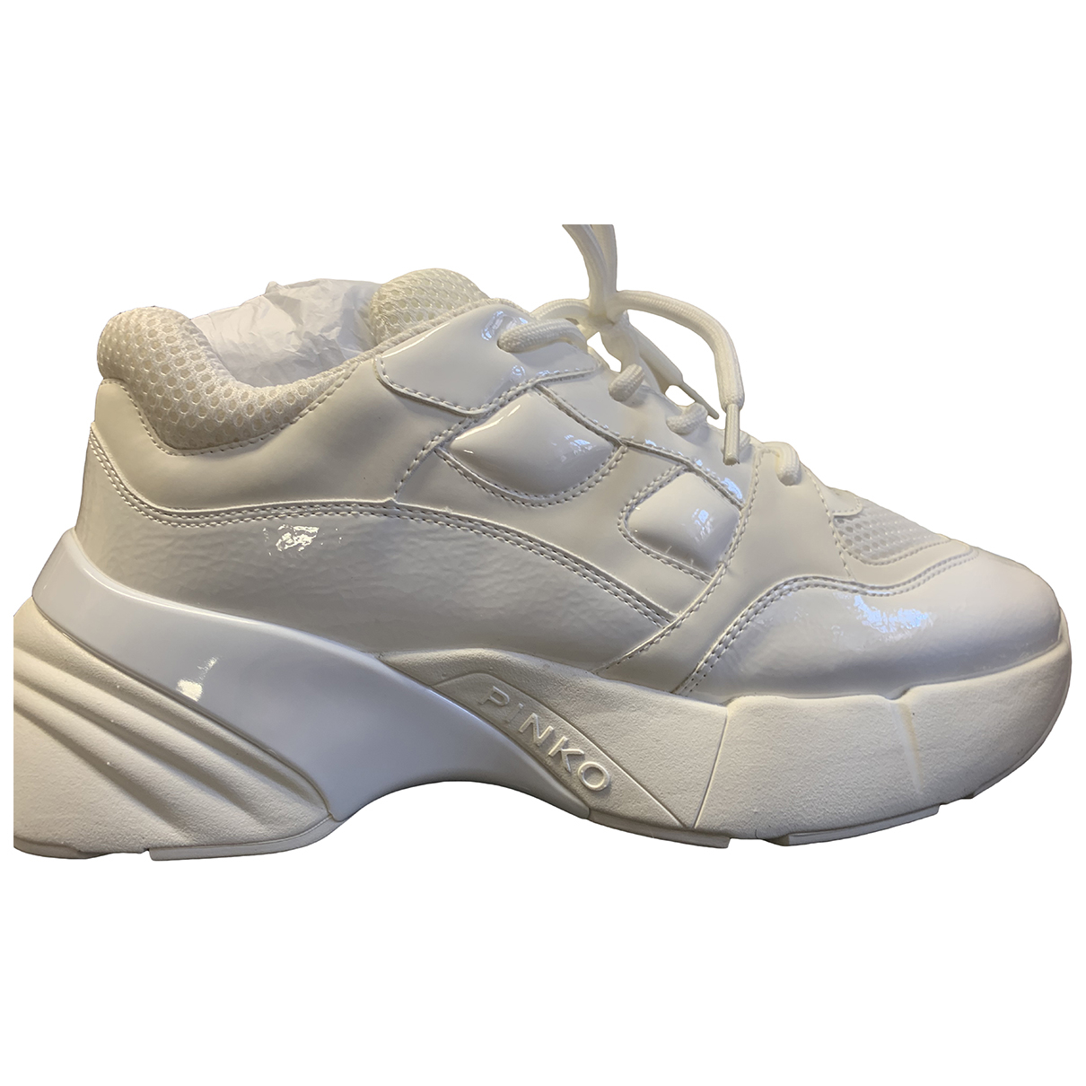 Pinko - Baskets   pour femme en caoutchouc - blanc