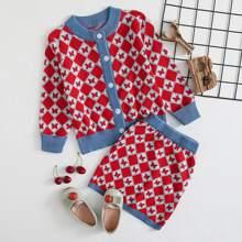 Toddler Girls Argyle Pattern Cardigan & Knit Skirt