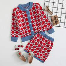 Conjunto jersey para niñita Boton delantero Geometrico Casual