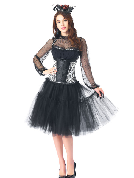 Milanoo 3-Piece Corset Pettiskirt Sets With Long Sleeve Top Classic Black Rhinestones Lace-up Costume Party Dress
